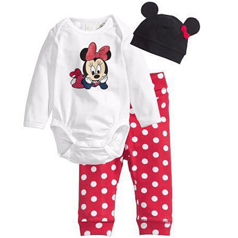 3Pcs Baby Kids Boys Girls Mickey Mouse Romper Pants Bodysuit Clothes Outfit Set