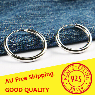 925 Sterling Silver Solid Classic Hoop Ring Earrings Lip Ear Nose Body Piercing 4