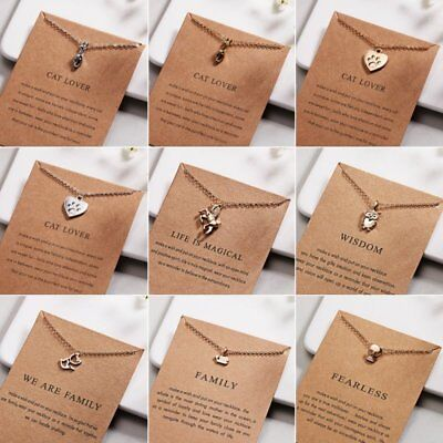 Fashion Women Animal Heart Necklace Charms Pendant Clavicle Chain Jewelry Card 10