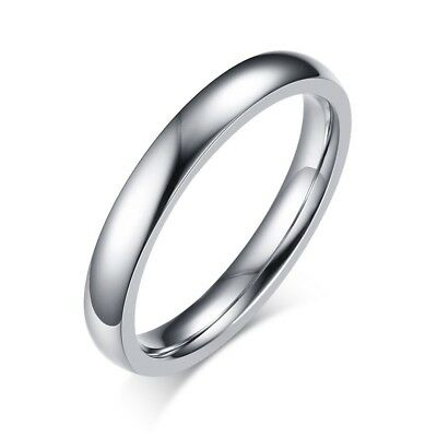 2/3/4/6/8mm Silver Band Men Women's 316L Stainless Steel Engagement Ring Sz 5-13 5