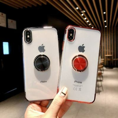 Magnetic Plating Clear Soft Case Cover With Ring Holder For iPhone XS Max XR 7 8 3
