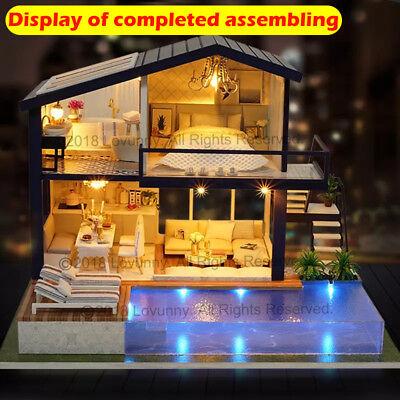 AU DIY LED Music Apartments Dollhouse Miniature Wooden Furniture Kit Doll House 4