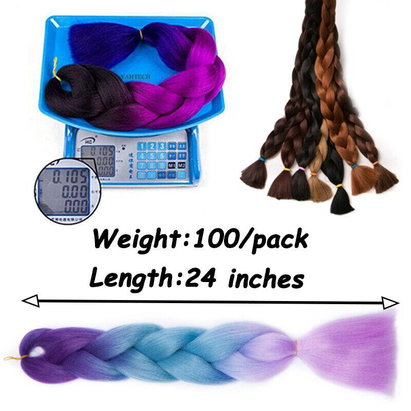"24"" Long Kanekalon Jumbo Braiding Hair Extensions For Crochet Twist Braids US5 11"