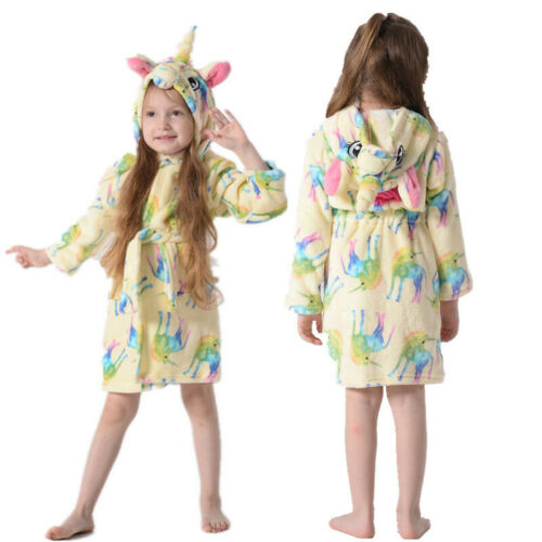 Kids Girls Boys Unicorn Dressing Gown Hooded Bath Robe Animal Print Night Wear 7