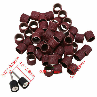 50Pcs 13mm Sanding Bands Sleeves With 2 Drum Mandrel For Dremel Rotary Tools FC 3