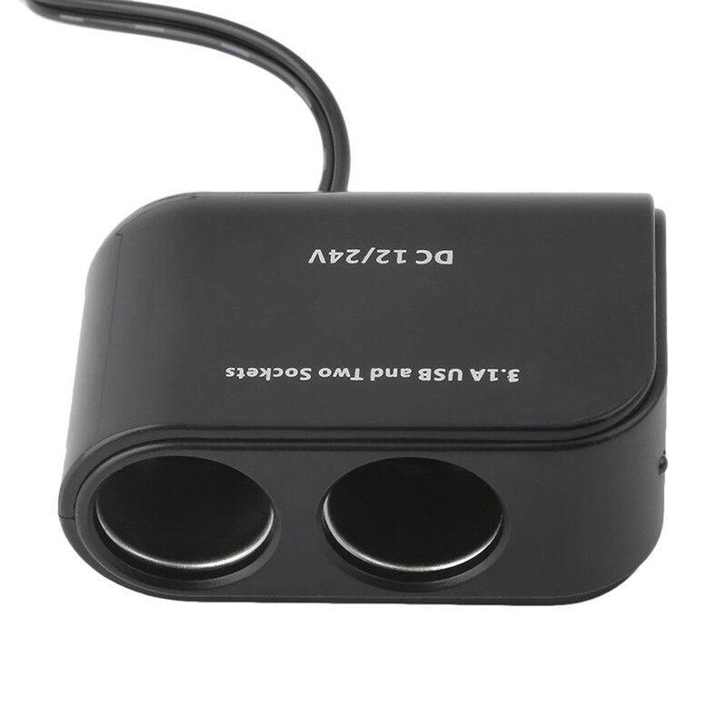 2 Way Dual Car Cigarette Lighter Socket Splitter 12V  USB Charger Power Adapter 7