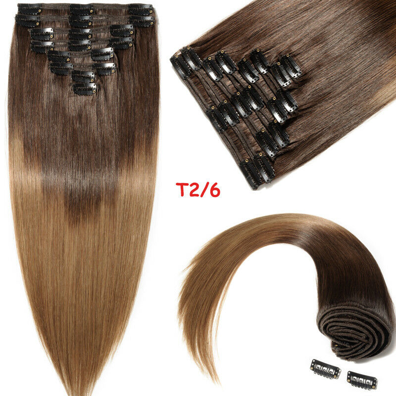 Real Thick 160g Full Head Clip In Remy Human Hair Extensions Double