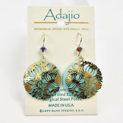 Adajio Earrings Shiny Gold Plated Floral Filigree on Blue Disc Handmade USA 7911 3