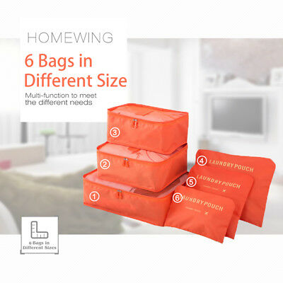 6Pcs Packing Cubes Travel Pouch Luggage Organiser Clothes Suitcase Storage Bags 6