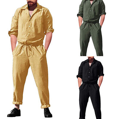 ded1c62c992 ... Men s One Piece Rompers Long Sleeve Street Casual Pants Jumpsuit  Overalls 2