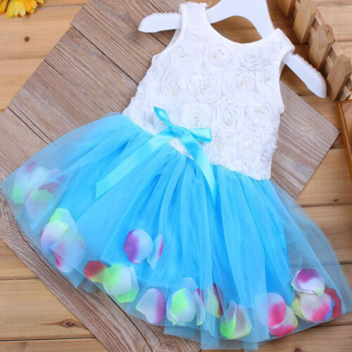 Newborn Flower Pageant Princess Dress Baby Girl Wedding Party Tutu Dresses 6-24M 5