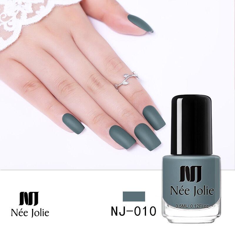 NEE JOLIE 3.5ml Matte Nail Polish Pure Tips Purple Green Black Nail Art Varnish 6