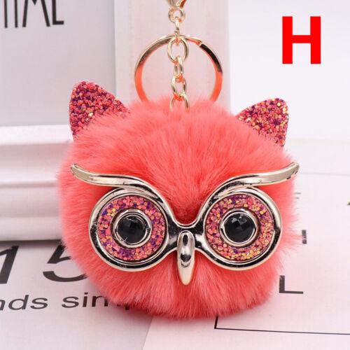Charm Owl Keychain Fox Faux Fur Cute Pompom Ball Pendant Soft Car Keyring Purse 9
