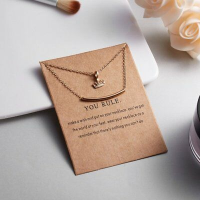 Women Animal Owl Cat Clavicle Short Paper Card Necklace Pendant Gold Chain Gift 7