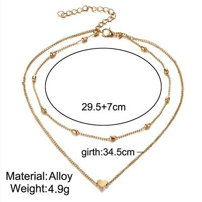necklace double layer heart chain hot multilayer choker pendant  gold silver UK 3