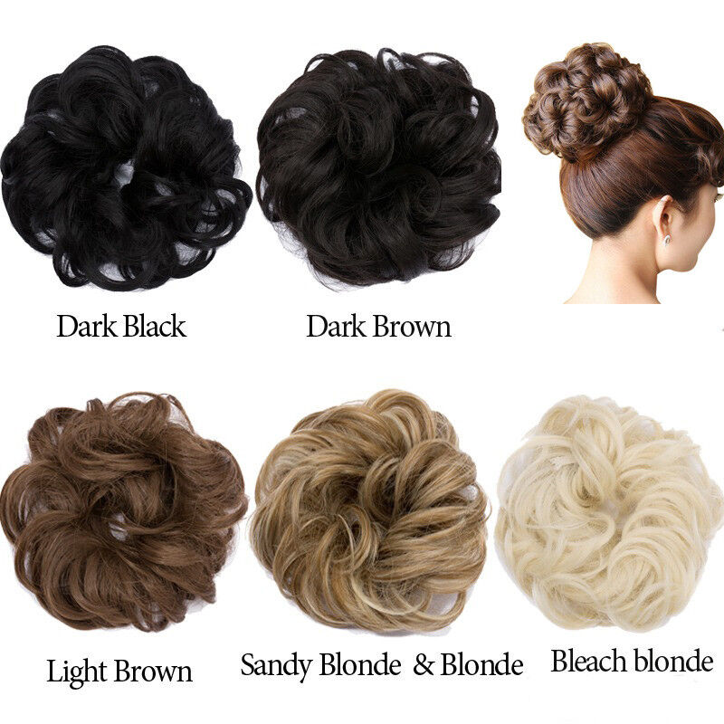 Curly Messy Bun Hair Piece Scrunchie Updo Cover Hair Extensions Real
