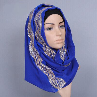 Muslim Women Hijab Rhinestone Long Scarf Islamic Shawls Head Wrap Scarves Shayla 7