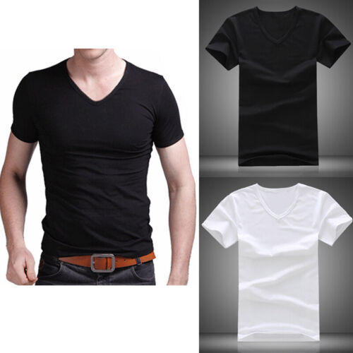 Summer Men Casual  Cotton Short Sleeve V-neck T-Shirt Tops Black White M/L-2XL 3