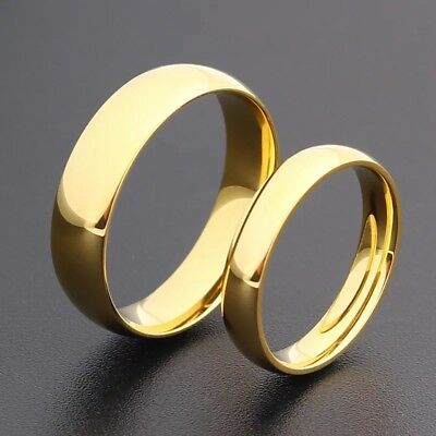 14K Gold Plated 4mm 6mm Polished Stainless Steel Wedding Band Ring Mens & Womens 2