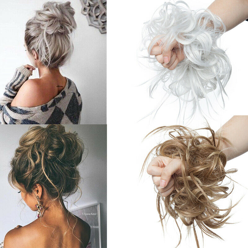 UK Large Thick Messy Bun Scrunchie Updo Wrap on Hair Extension Hair Piece Blonde 4