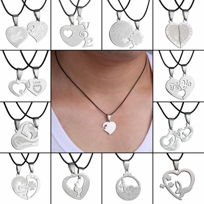 Silver Stainless Steel Men Women Punk Necklace Pendant Leather Chain Couple Gift 5