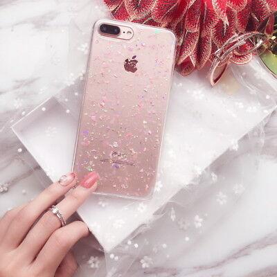 For iPhone XS Max XR X 7 8 6s Cute Bling Glitter Slim TPU Soft Clear Case Cover 8