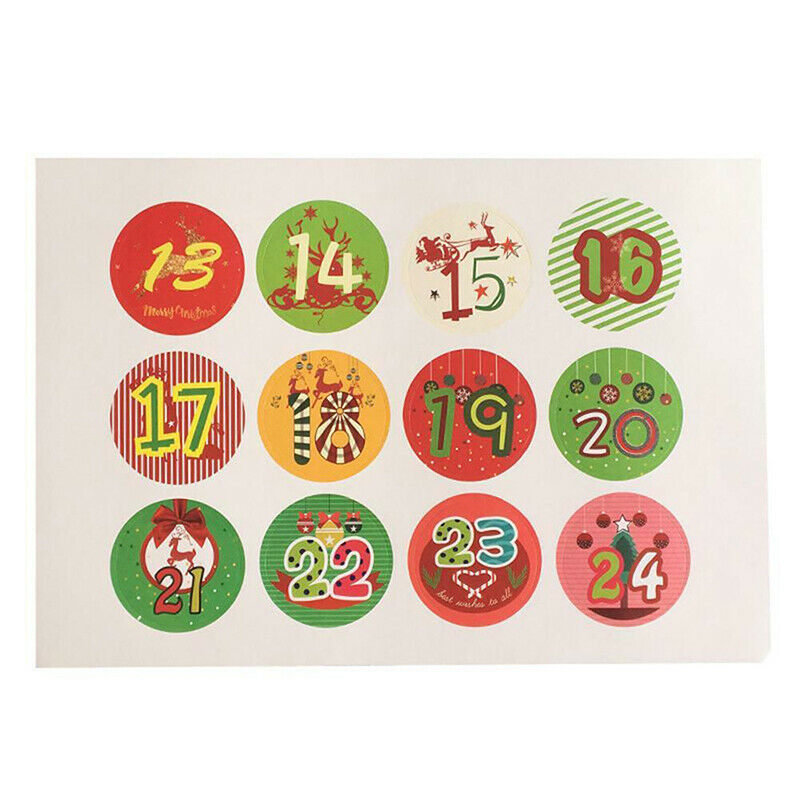 120pcs Christmas Stickers Advent Calendar Numbers 1-24 Embellishments Gift UK