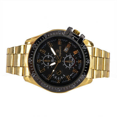 Luxury Mens Black Dial Gold Stainless Steel Date Quartz Analog Sport Wrist Watch 8
