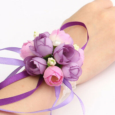 1 Of 8free Shipping Wrist Corsage Bracelet Bridesmaid Sisters Hand Flowers Wedding Party Bridal Prom