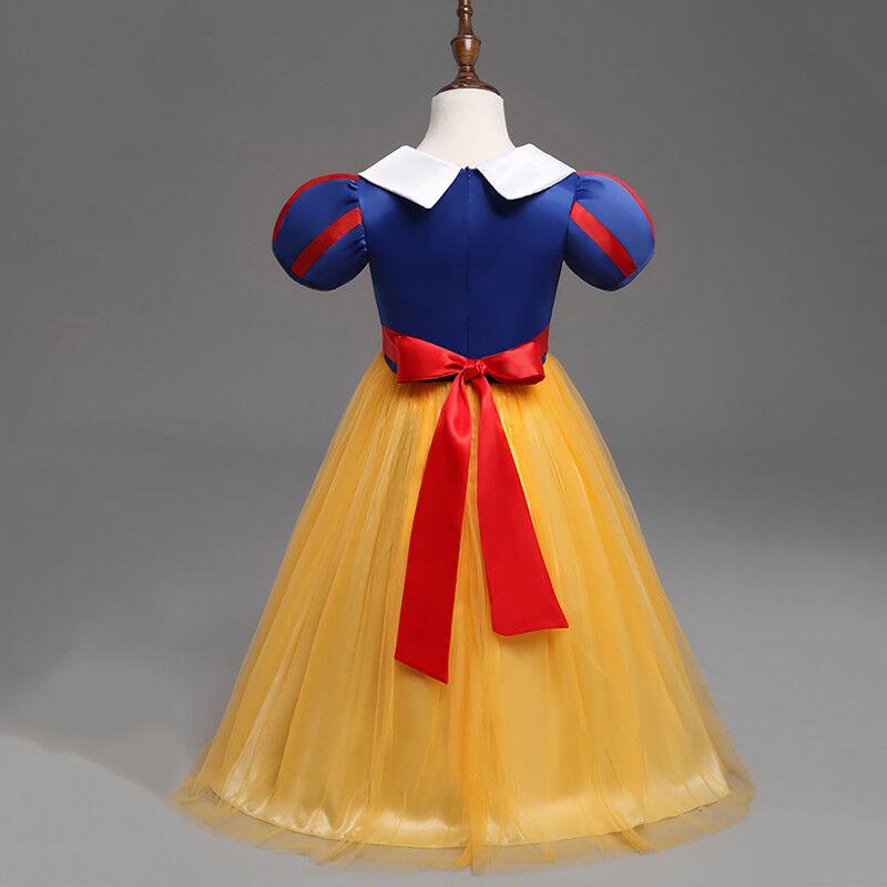 Kid Girls Snow White Princess Costume Fancy Halloween Party Dress Child Cosplay 6