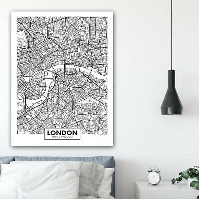 Rotterdam New York London Capital City Map Wall Art Poster Canvas Print Picture 5