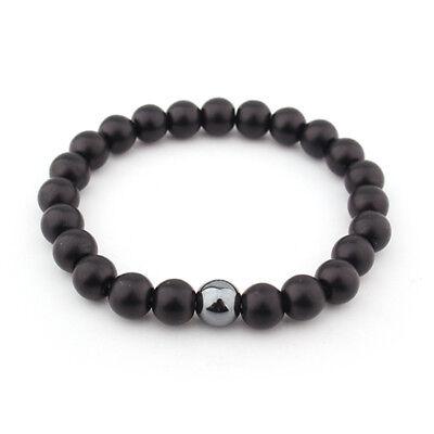 Mens Matte Black Onyx Yoga Energy Beaded Bracelet Boyfriend Gift for Him Jewelry 3