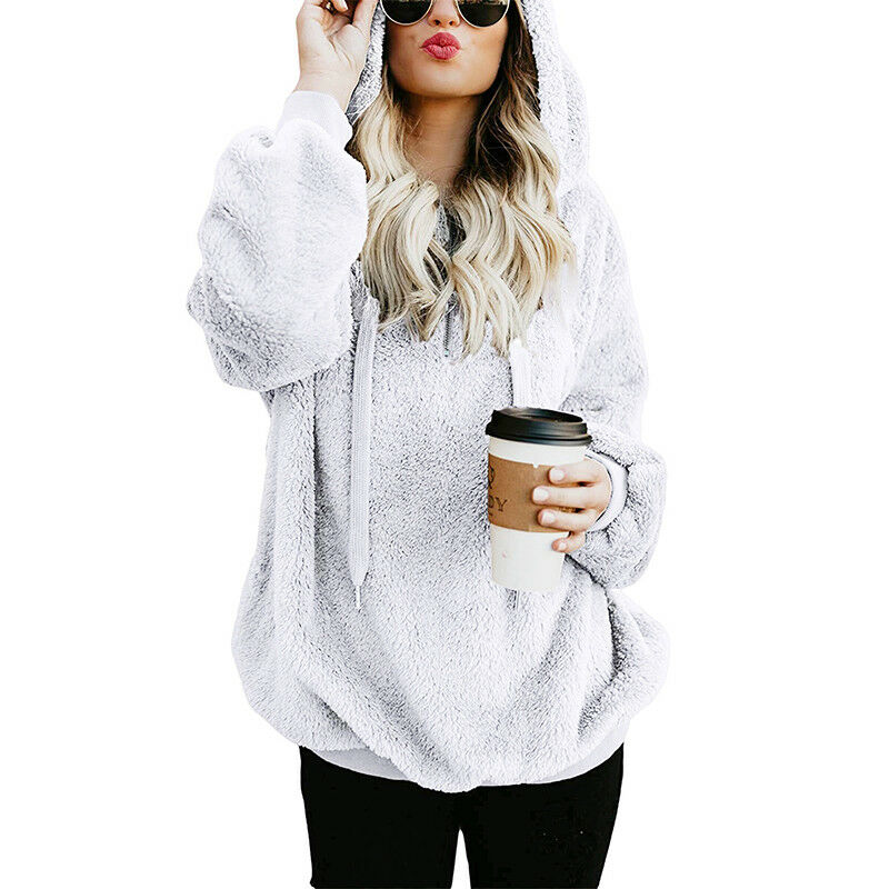 Womens Warm Fleece Hooded Sweatshrit Hoodies Winter Jumper Tops Coat Plus Size 7