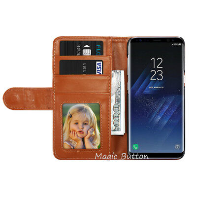 For Samsung Galaxy S9 S8 Plus S7 edge Wallet PU Leather Flip Case Card Cover 2