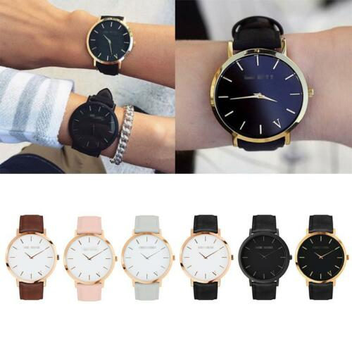 The Brand Womens Mens Unisex Quartz Analog Gold Leather Band Wrist Watches New 2