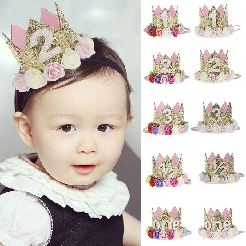 First Birthday Party Hat Decor Hair Accessory Baby Girl Flower Princess Crown 2