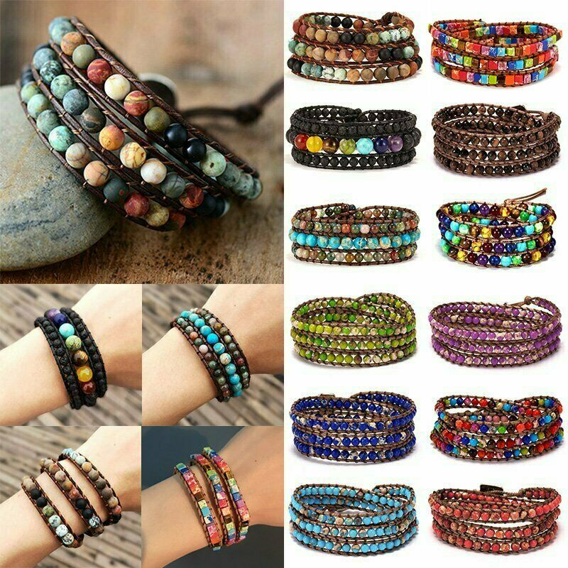 Chakra Natural Stone Tube Beads Bracelet Handmade Rope Wrap Bangle Jewelry Gifts 3