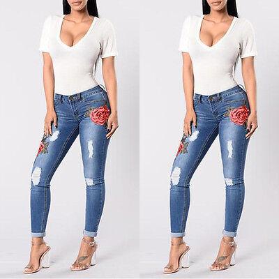 02277ad205 ... Mujer Vaqueros Pitillo Flor Denim Elástico Bordado Pantalones Cintura  Alta 5