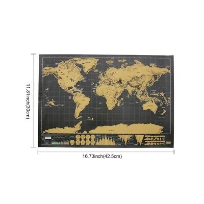 Scratch Off World Map Poster Interactive Travel Atlas Decor Large Deluxe Gift AU 2