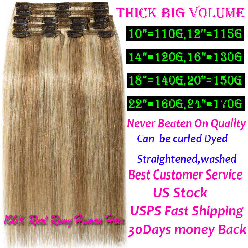 Thick 200g Double Weft Clip In Remy Real Human Hair Extension Full
