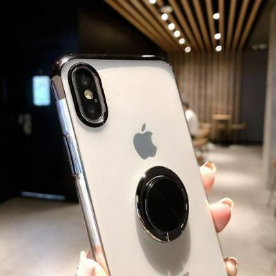 Magnetic Plating Clear Soft Case Cover With Ring Holder For iPhone XS Max XR 7 8 5