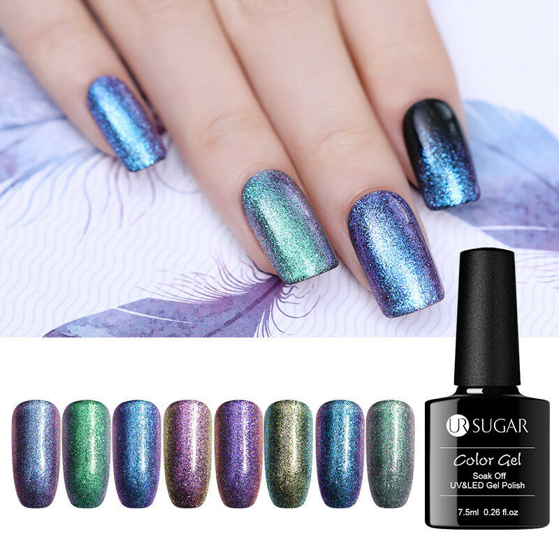 7.5ml UR SUGAR  Glitter Soak Off UV Gel Polish Nail Art Chameleon Varnish 5