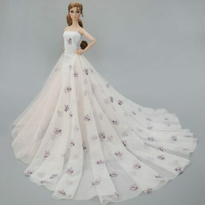 Colorful Floral High Fashion Doll Clothes for 1/6 Doll Wedding Dress Party Gown 9