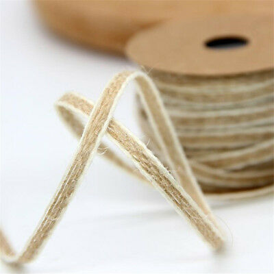 10M/Roll Natural Jute Burlap Hessian Ribbon Lace Trims Tape Rustic Wedding Decor 3