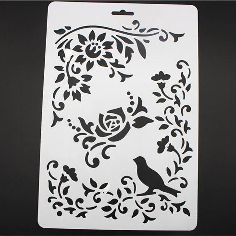 Diy Craft Bird Vine Flower Layering Painting Stencils Scrapbooking