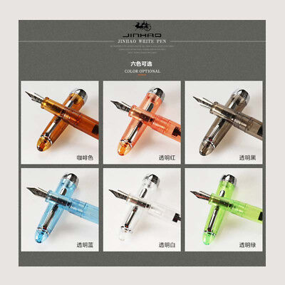 6Pcs Jinhao 992 Transparent China Fountain Pen Screw Fine 0.5mm Nib Student Gift