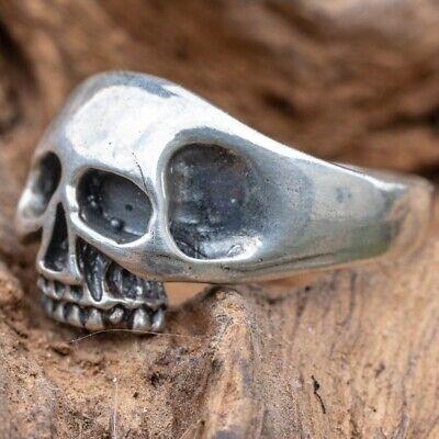 X Baldy Skull Ring 925 sterling silver Metal  Biker Gothic Punk Pinky M