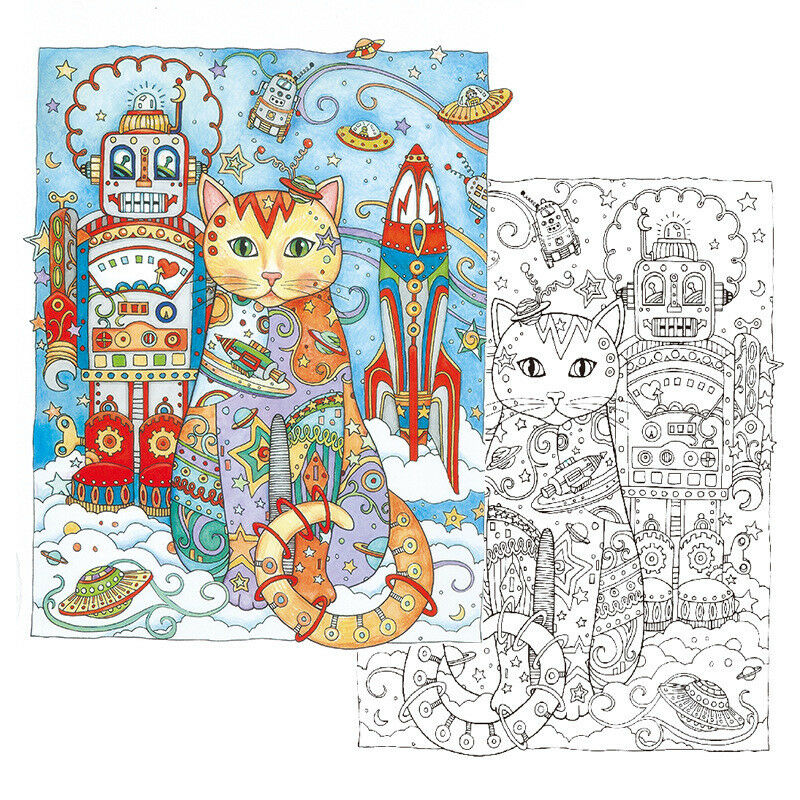 Haven Creative Cats Colouring Book Adults Stress Reliever Secret Garden Gift 3