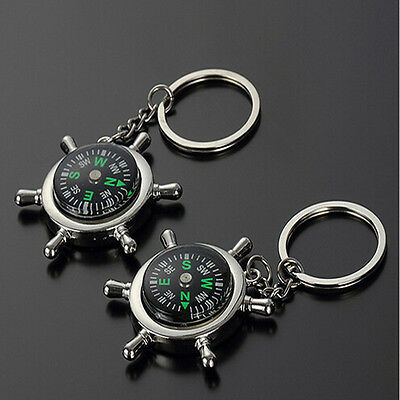 Unisex Fashion Compass Metal Car Keyring Keychain Key Chain Ring Keyfob 2