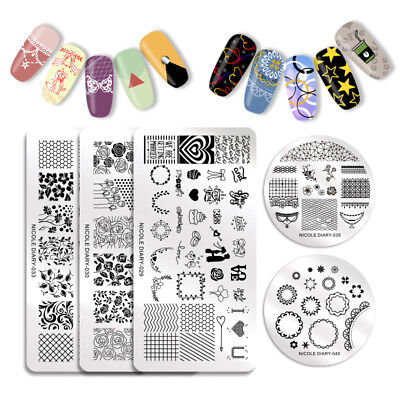NICOLE DIARY Nail Stamping Plates Valentine's Day Lace Manicure Image Templates